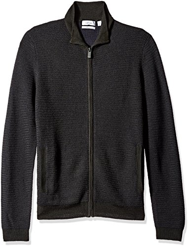 Calvin Klein Men's Full Zip Merino Plaited Sweater, Black Combo, MEDIUM