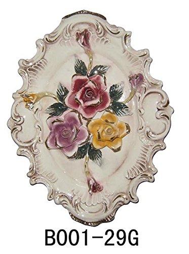 - Capodimonte Style Ceramic Multicolored Roses Wall Plaque 19