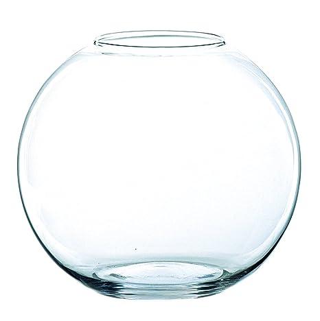 INNA Glas - Jarrón Redondo Tobi de Cristal, Transparente, 20,5 cm,
