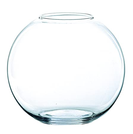 INNA Glas - Jarrón Redondo Tobi de Cristal, Transparente, 20,5 cm, Ø 25 cm - Florero de Mesa/Pecera Decorativa: Amazon.es: Hogar