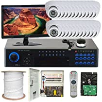 GW Security Inc 24CHP3 32 Channel H.264 960H Real-Time DVR with 24 x Exview HAD CCD II Effio-E 700 TVL 3.6mm Lens Security Camera System, Free LED (White/Black)