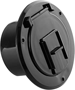Halotronics RV 4 1/4-inch Round Electrical Cable Hatch for 30 Amp Cords (Black)