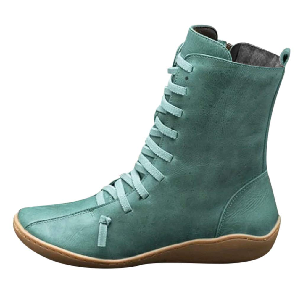 Kauneus Womens Comfy Soft Ankle Boots Classic Cross Strap Leather Mid Calf Boots - Side Zipper Vintage Short Boot Green by Kauneus Fashion Shoes