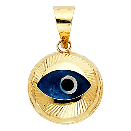 14k Yellow Gold Evil Eye Fluted Charm Pendant (Fluted 14k Gold Yellow)