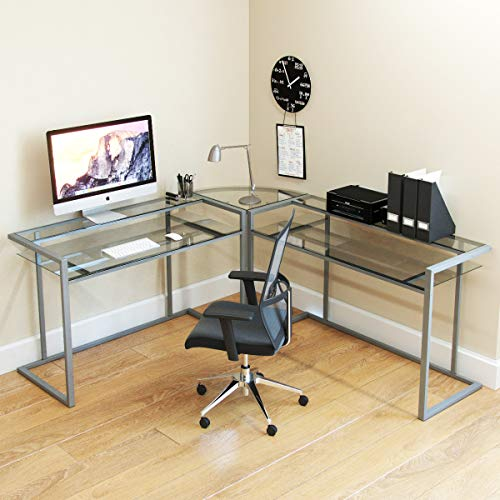 Ryan Rove Belmac Glass Large Modern L-Shaped Desk Corner Computer Office Desk for Small PC Laptop Study Table Workstation Home Office with Keyboard Shelf - Silver Frame and Clear ()
