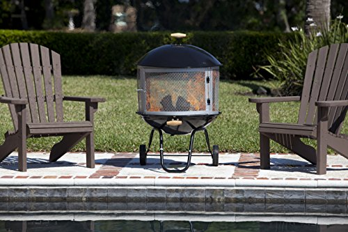 """Bessemer 01471 28"""" Patio Fireplace, Black and Silver - Portable fireplace with wheels for easy transport to patio, campsite, and beach. Porcelain enamel bowl and lid for optimal corrosion resistance and easy cleaning Two screens are in fire pit with other pieces, Two screens wrapped in corragate which is attached to underside of fire pit. Domed top pushes heat outward instead of straight up for warmer get-togethers - patio, outdoor-decor, fire-pits-outdoor-fireplaces - 51Pnq79otRL -"""