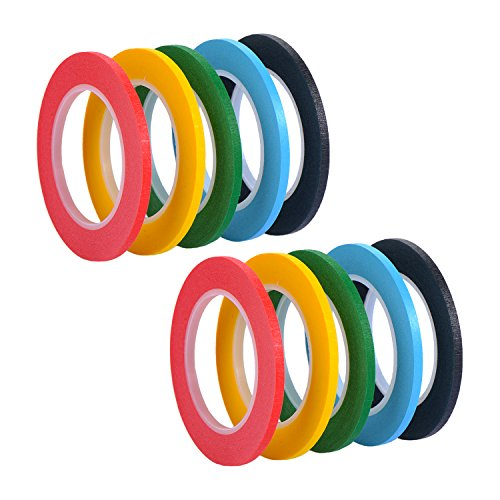 Outus 10 Pieces 3 mm Width Whiteboard Gridding Tape Grid Marking Tapes Self Adhesive Chart Tapes Artist Tape, 5 Colors