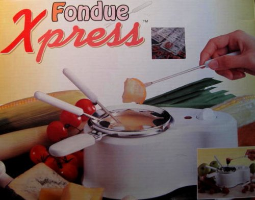 Fondue Xpress, Small Electric Fondue with Forks, Includes Candy Molds