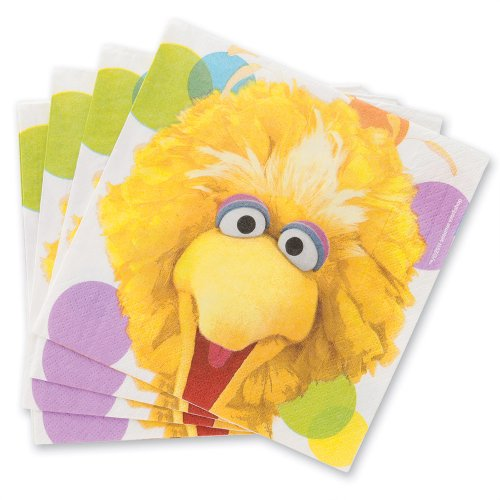 Sesame Street Party Luncheon Napkins - Party Supplies - 16 per Pack (Sesame Street Party Big Bird Lunch Napkins)