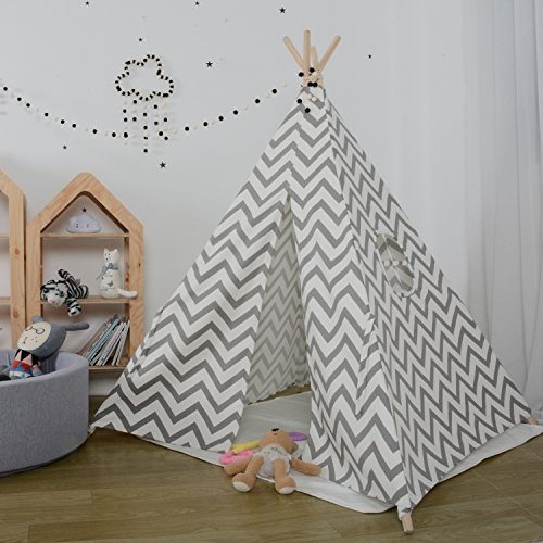 Kids Teepee Play Tent - 5' Feet Tall Large Nursery Children Tent Playhouse by Wonder Space, Handcrafted Decoration Indoor Outdoor Toy for Babies & Toddlers Nursery (Grey Whole Raised Grain)