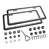 Ohuhu 2 PCS Slim Bottom License Plate Frames Matte Black Powder Coated WONT Block Letters / Stickers