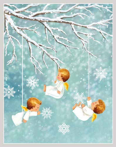 Angels in Snow - Christmas Card Box - 16 Cards (3.75