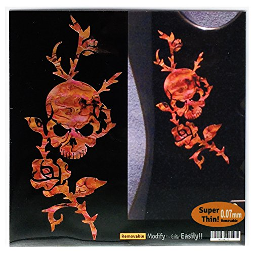 Rose & Skull /Abalone Red Inlay Sticker Decal For Guitar & Bass