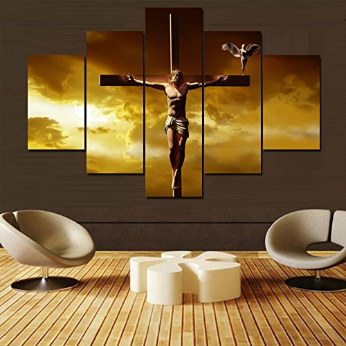Extra Large 5 Piece Canvas Wall Art Jesus Crucifixion Christianity Symbol Christian Crosses HD Prints Painting Pictures for Bathroom Decor,Artwork Framed Giclee Stretched Ready to Hang(60''Wx40''H) by Warm Artwork