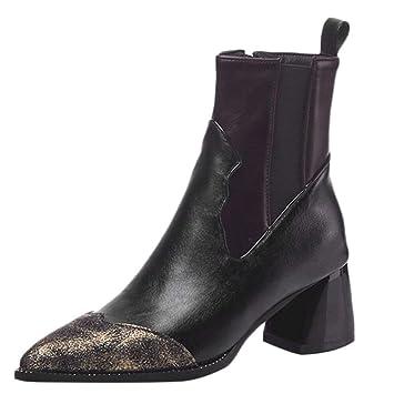 ZHRUI Botas para mujer, zapatos con punta en punta retro Color de empalme informal Botas de tacón alto bajas ...