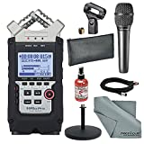 Zoom H4n Pro 4-Channel Handy Recorder W/ Audio-Technica AT2010 Cardioid Condenser Handheld Microphone, & Mic Stand, Sanitizer, and FiberTique Cleaning Cloth
