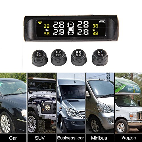 Teepao Car RV TMPS Tire Pressure Monitoring System, IPX7 Wireless TPMS System With 4 External Sensor & Digital Temperature Pressure LCD Display, Auto Alarm Feature, Solar Panel And USB Charging by Teepao (Image #1)