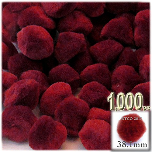 The Crafts Outlet 1,000-Piece Multi purpose Pom Poms, Acrylic, 38mm/about 1.5-inch, round, Dark Red by The Crafts Outlet