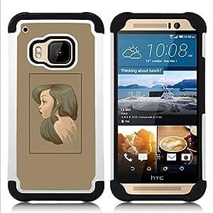 For HTC ONE M9 - Brunette Portrait H???¡¯????brido Protecci???¡¯????n completa dual de alto impacto Capa Funda - Cash Case -