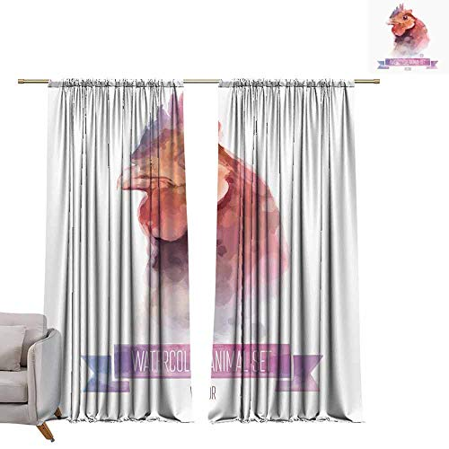 berrly Window Draperies Vector Set of Animals. Chiken Hand Painted Watercolor Illustration Isolated on White Background W96 x L108 Art Drapes for Living Room