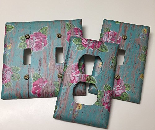 Floral Outlet Cover - Pink Roses on Distressed Turquoise Wood, Light switch covers,light switch plate,outlet covers,outlet plates,home decor, wall art