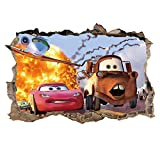 kids bedroom sticker wall murals ufengke 3D Cars Wall Stickers Removalble Break Through The Wall Vinyl Murals for Children Bedroom Living Room