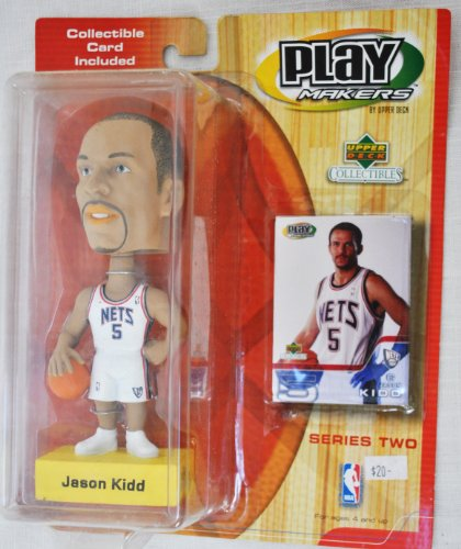 5 New Jersey Nets - New Jersey Nets star #5 Jason Kidd official NBA Upper Deck Playmakers Bobble card set Bobblehead