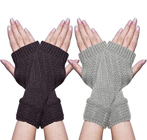 Senker 2 Pairs Womens Crochet Winter Warm Knit Fingerless Gloves, Thumbhole Arm Warmers