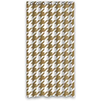 Houndstooth Shower Curtain   Hipster Tan White Houndstooth Bathroom Shower  Curtains Polyester Waterproof 36 Wide X