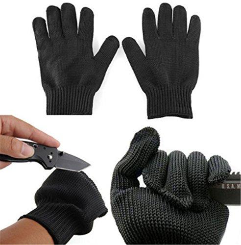(EvaGO 2 Pair Multi-Purpose Gloves Cut Resistant Anti-Vibration Gloves Heat Resistant Gloves, Hand Protection Level 5, Safe for Food, Black)