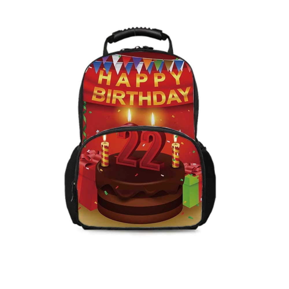 22nd Birthday Decorations Leisure School Bag,Cake with Candles Cheerful Event Yummy Surprise Artwork for School Travel,One_Size