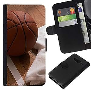 NEECELL GIFT forCITY // Billetera de cuero Caso Cubierta de protección Carcasa / Leather Wallet Case for Samsung Galaxy Core Prime // Baloncesto y Pisos