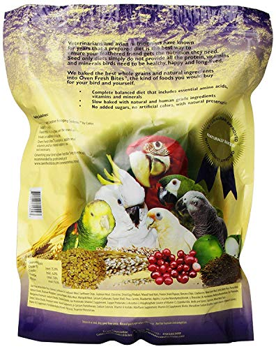 2 Pack, Caitec Oven Fresh Bites Natural Baked Avian Diet, Nutritional, Whole Grain, Large Parrot Food. 48 Oz. Ea.