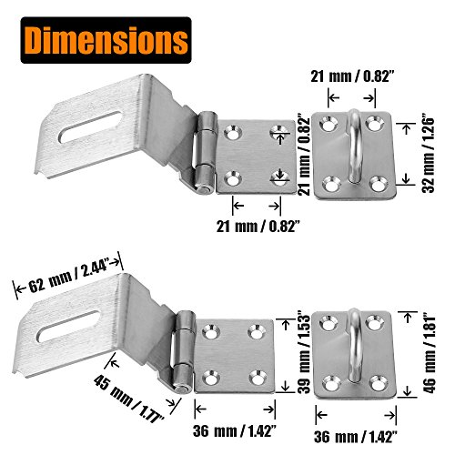 JQK Door Hasp Latch 90 Degree, Stainless Steel Safety Angle Locking Latch for Push/Sliding / Barn Door, 1.5mm Thickness Satin Nickel 2 Pack, 4 Inch by JQK (Image #1)