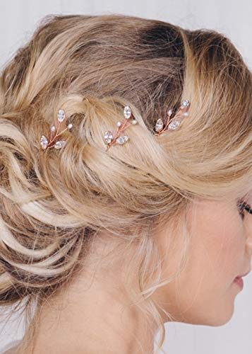 FXmimior 3 PCS Bridal Women Vintage Wedding Party Hair Pins Crystal Hair Accessories (rose gold)