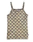 City Threads Girls Cami Spaghetti Strap Tee Tshirt Fun Colorful Metallic Shiny Mermain Print Tank Top for School Party Summer, Summer, Mermaid Gold, 2T