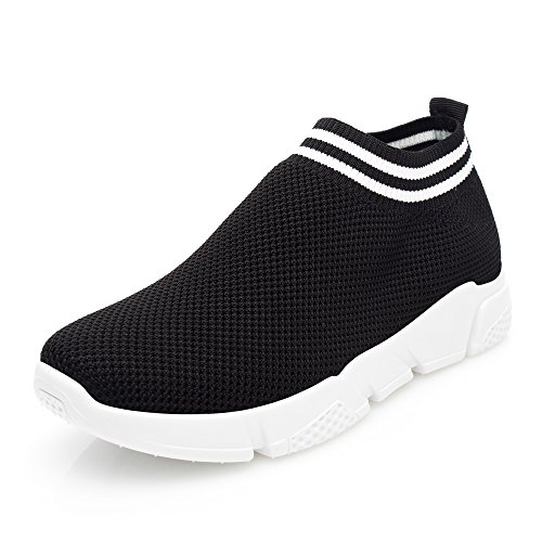 DRKA Women Athletic Mesh Walking Shoes, Lightweight and Breathable Slip-on Sneakers Black936