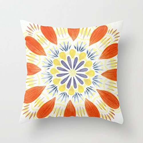 Decorative Square Pillow Case Cushion Cover 24X24 Inches Flower ()