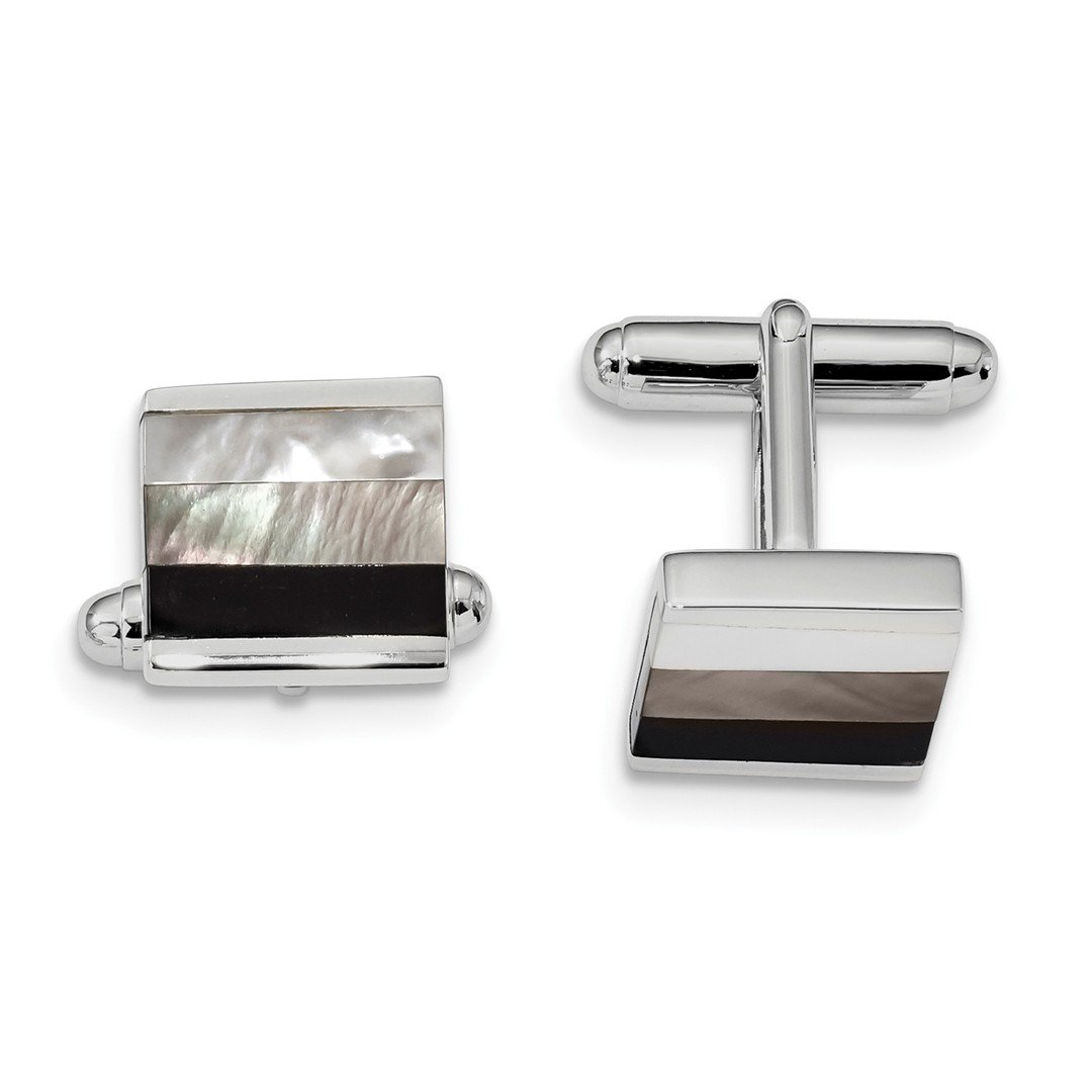 ICE CARATS 925 Sterling Silver Black Onyx White/grey Mop Cuff Links Mens Cufflinks Link Fine Jewelry Dad Mens Gift Set