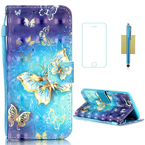 iPhone 6S Plus Case,iPhone 6 Plus Case,CASELAND [3D] Flip Cover PU Leather Wallet Case Card Slots,Lanyard Stand Case for iPhone 6S Plus,Case for iPhone 6 Plus 5.5,Butterfly