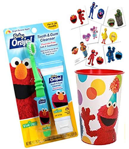 Sesame Street Elmo Inspired 3pc. Bright Smile Oral Hygiene Toothbrush Trainning Set! Plus Bonus Sesame Street Reward Tattoos