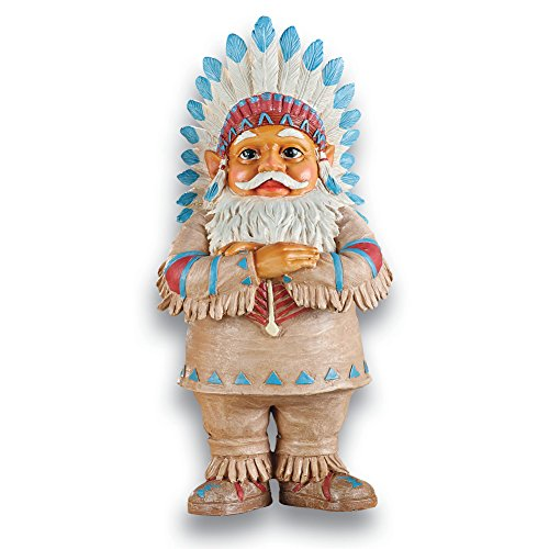 Collections Etc Native American Garden Gnomes Outdoor Southwestern Decor, Chief