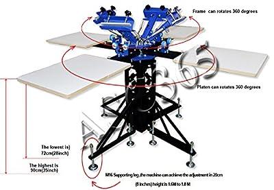 4 Color 4 Station Screen Printing Machine Screen & Platen Rotating Screen Printing Press