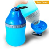 TIOVERY Dog Water Bottle, Pet Travel Water Bowl Outdoor Canteen Kettle with Removable Cup for Dogs Cats (Blue)
