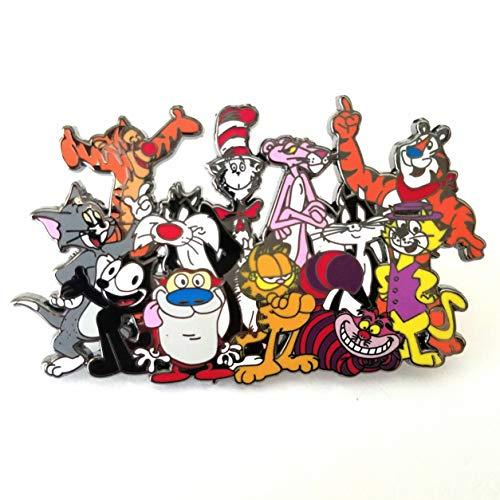 FELINE FANATIC Cartoon Cat Lover Jumbo 2.75 inch Lapel Pin