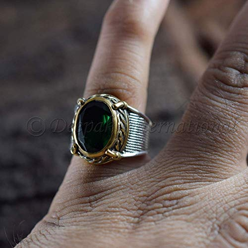 Hydro Emerald Vermeil 925 Sterling Silver Jewelry, Bohemian Ring, Emerald Man's Ring, May Birthstone Ring, Handmade Ring, Statement Ring, Meditation Ring, Engagement Jewelry