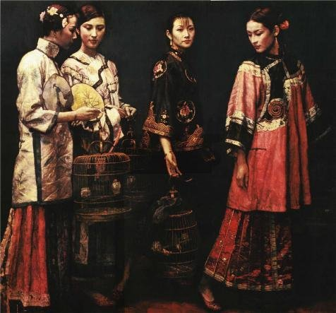 [Oil Painting 'Chen Yifei,Four Ladies,1991', 30 x 32 inch / 76 x 82 cm , on High Definition HD canvas prints is for Gifts And Bed Room, Kids Room And Kitchen Decoration, largeart] (Woman Lioness Costume)