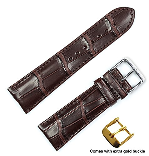 Genuine-Alligator-Watch-Band-Silver-Gold-Buckle-Brown-20mm