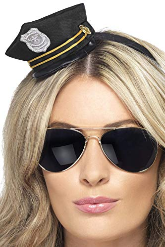 Mini Cop Hat on Headband Yellow,One Size]()