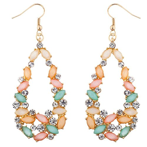 Lux Accessories goldtone Cluster Multicolor Rhinestone Teardrop Shape Earrings ()